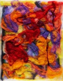 "Teresa Viana, Series 2-7, 2017, Sheep wool felt, 20"" x 13.8"""
